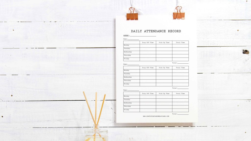 Free Home Daycare Printables