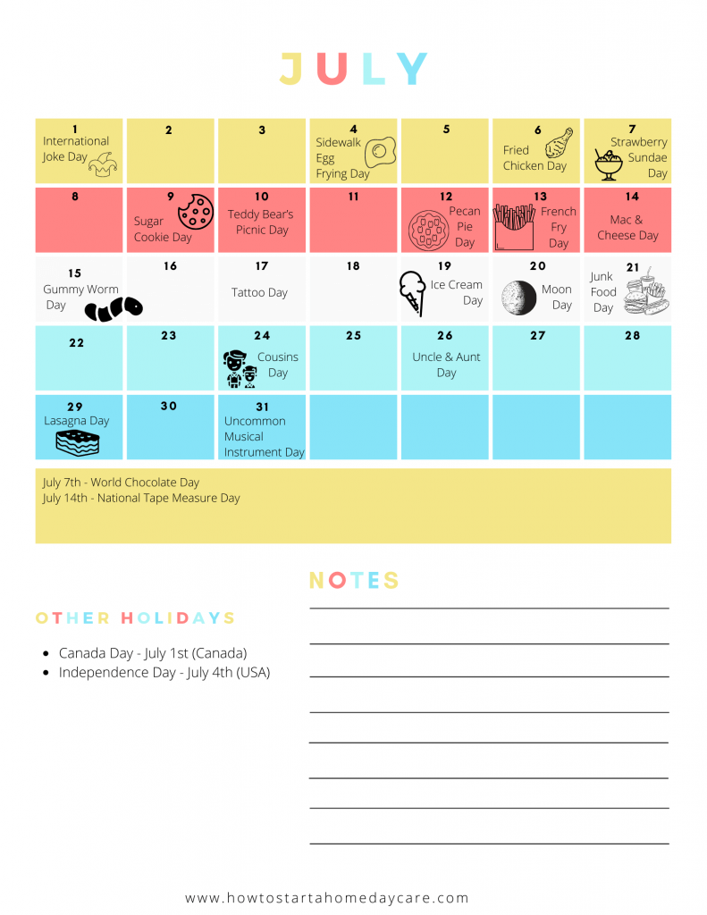 Unique holidays in July